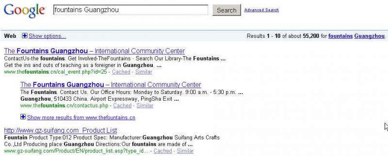 SEO Result: The Fountains Guangzhou Google Search Engine Optimize by SixColor Guangzhou IT Service Company.
